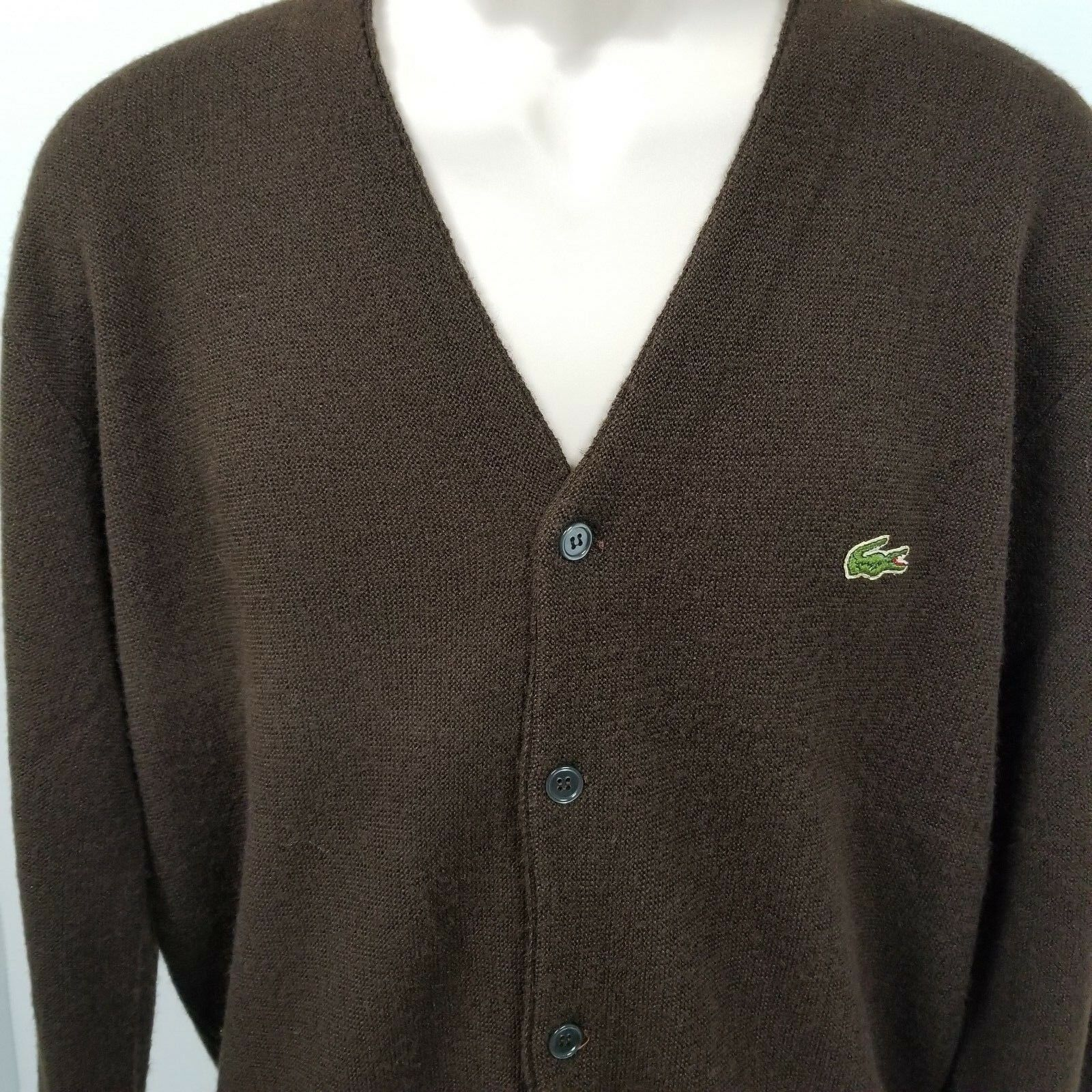 Lacoste Men's Cardigan Vintage 90s USA Brown Sweater Size L