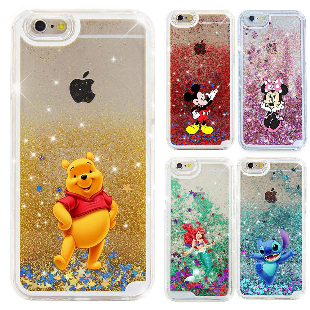 buy online d40cf 6e185 Cute Disney Liquid Quicksand Cover Case For iPhone Xs Max 5 7 8 Samsung S8  Note9