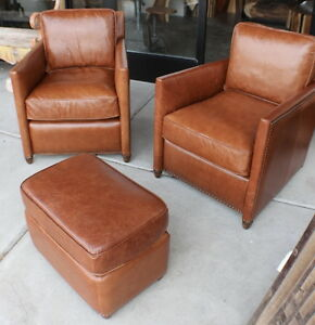 Pleasing Details About Set Of Two 27 W Arm Chair Vintage Light Brown Leather Wood Frame Beautiful Ncnpc Chair Design For Home Ncnpcorg