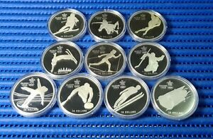 10X 1985, 1986 & 1987 Canada $20 Calgary Winter Olympic Games Silver Proof Coin