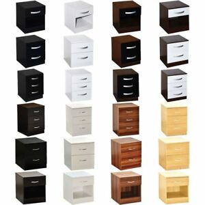 Riano Hulio 1 2 3 Bedside Cabinet Chest Wood High Gloss Bedroom Storage Unit