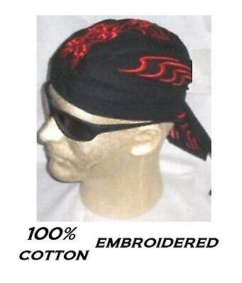RED /& BLACK SKULL TRIBAL Flame  FITTED TIED BANDANA Head Skull Cap DOO DO Du Rag