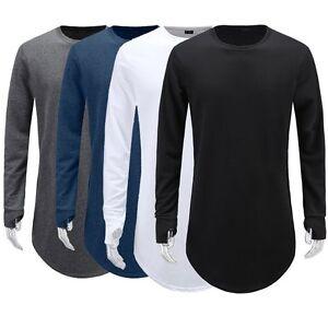 75022fb9c Thumb Hole Cuffs Long T Shirts Curved Hem swag Street wear Hip Hop ...