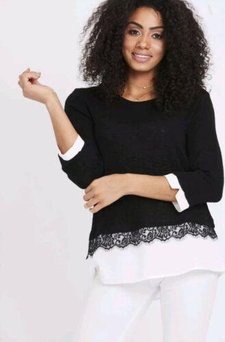 New Women Spring Ladies Black Lace Layered Hem Detail Top Blouse