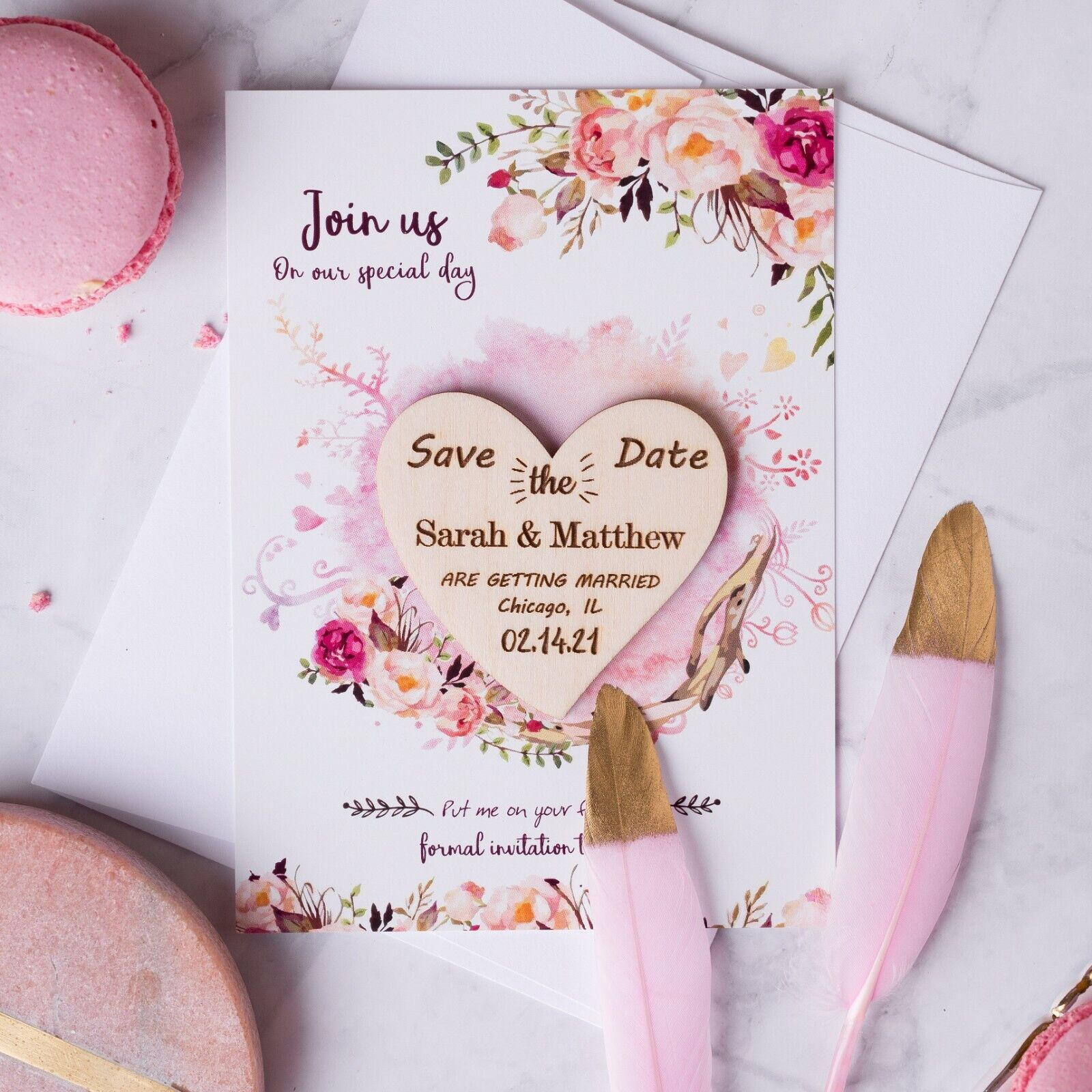 Wedding Favor Personalized Magnet Save the Date Fridge Magnet Heart Invitation Rustic Wedding Invites Save the Date Cards