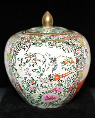 1930's Chinese Hand Painted Famille Rose Ginger Jar