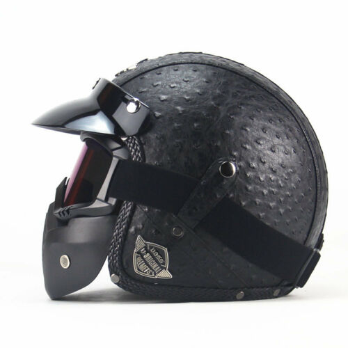 VOSS Motorcycle Half Helmets Open Face Vintage Chopper Goggle Mask For s