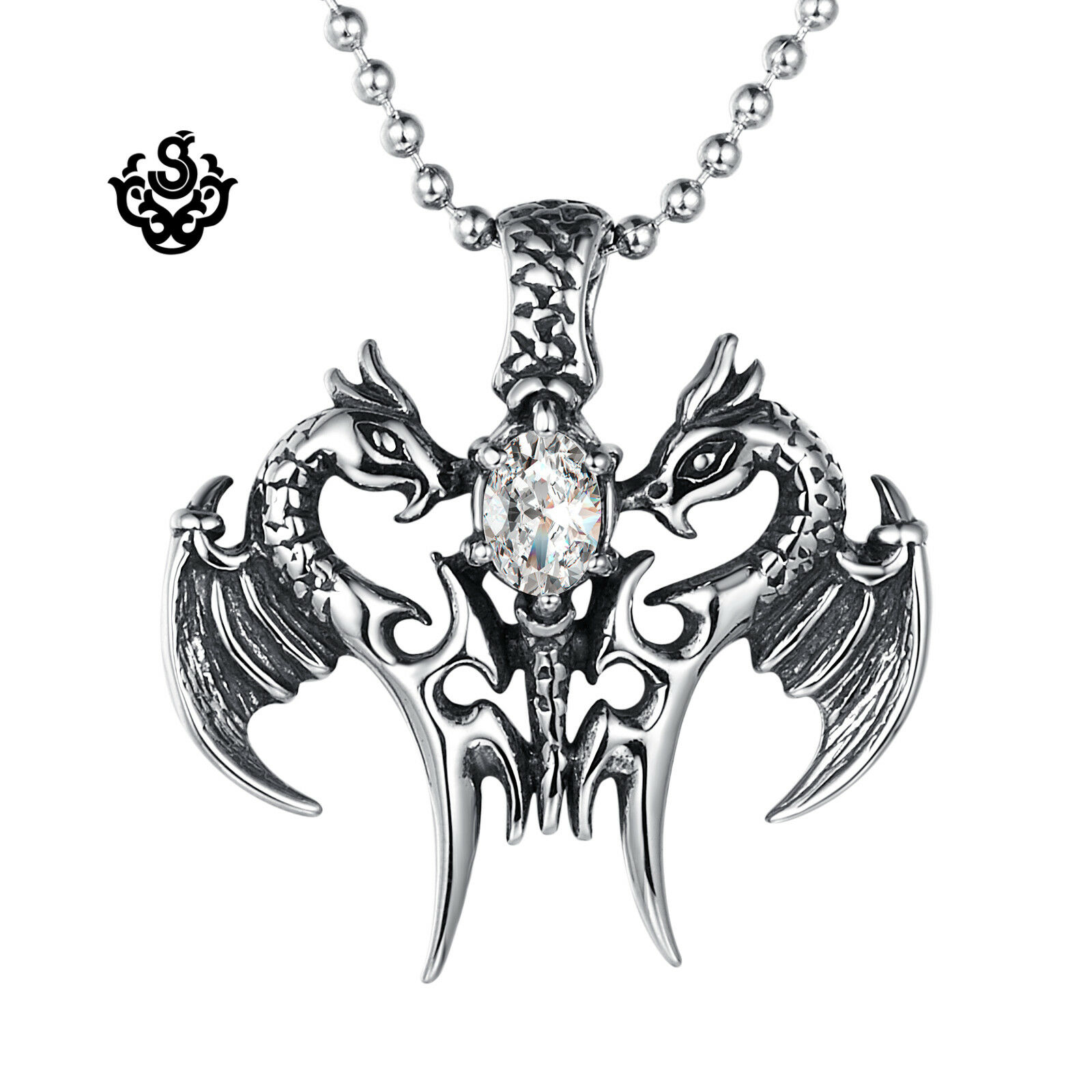 Silver pendant vintage style stainless steel dragon sword cz chain necklace 60cm