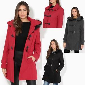 manteau duffle coat femme avec capuche fourrure