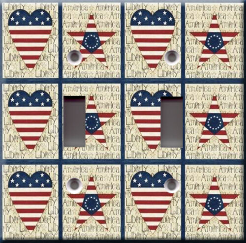 Star heart american Pattern america liberty usa Light Switch Plate Cover