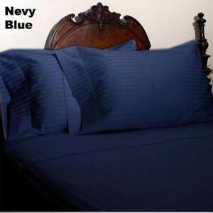 1000TC Navy Striped RV Camper /& Bunk Sheet Set All Sizes Egyptian Cotton