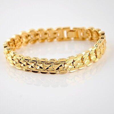 """18K Yellow Gold Filled Women/Men Bracelet 8""""Watch Chain 10MM GF Jewelry Gift"""