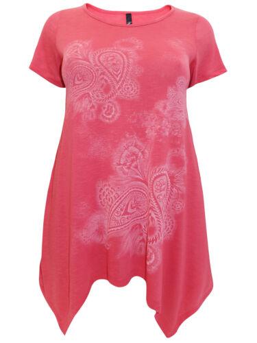 Ivans ladies tunic top t-shirt plus size 16 rose paisley pattern light pink