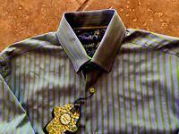 $125 Visconti Black L/s Shirt Sz M Gray/green Striped W/contrast Cuffs