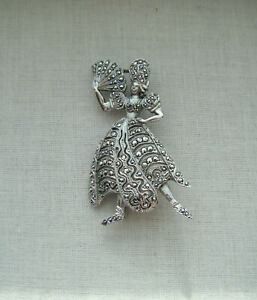 Vintage-silver-tone-marcasite-sparkly-stones-Spanish-lady-brooch-pin