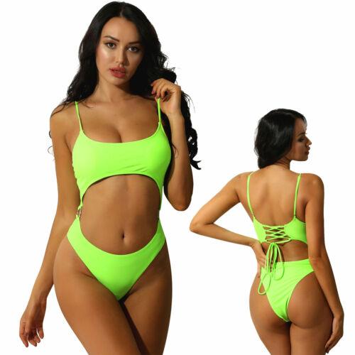 Women One-piece Bikini Swimwear Swimsuit Bathing Monokini  Scoop Neck Beachwear