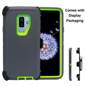 For Samsung Galaxy S9 Plus Case(Clip Holster Fits Otterbox Defender) GRAY GREEN