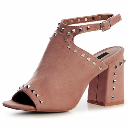 Damen Riemchen Pumps Sandaletten Velours Nieten Sandalen Blockabsatz