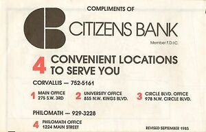 1985 Citizens Bank Road Map CORVALLIS Oregon State University ... on