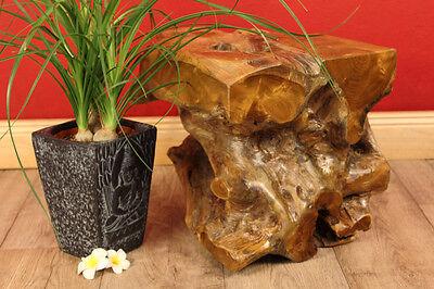 Teak Wurzelholz Massivholz Podest Klotz Block Blumensäule Deko Landhaus  Ständer