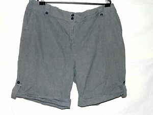 2c26bf6de8 Details about Basic Editions Women's 22W Smoky Blue / Gray Shorts With  Buttoned Cuff/Hem
