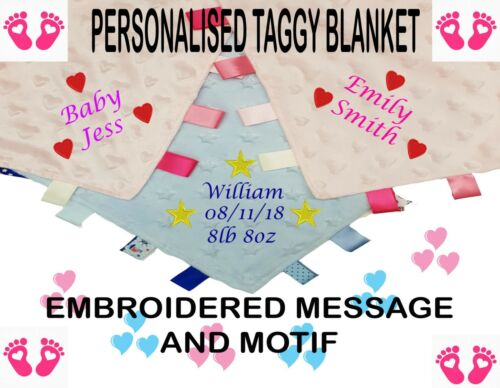 PERSONALISED EMBROIDERED BABY TAGGY TAGGIEs BLANKET COMFORTER BOY GIRL NEW BORN