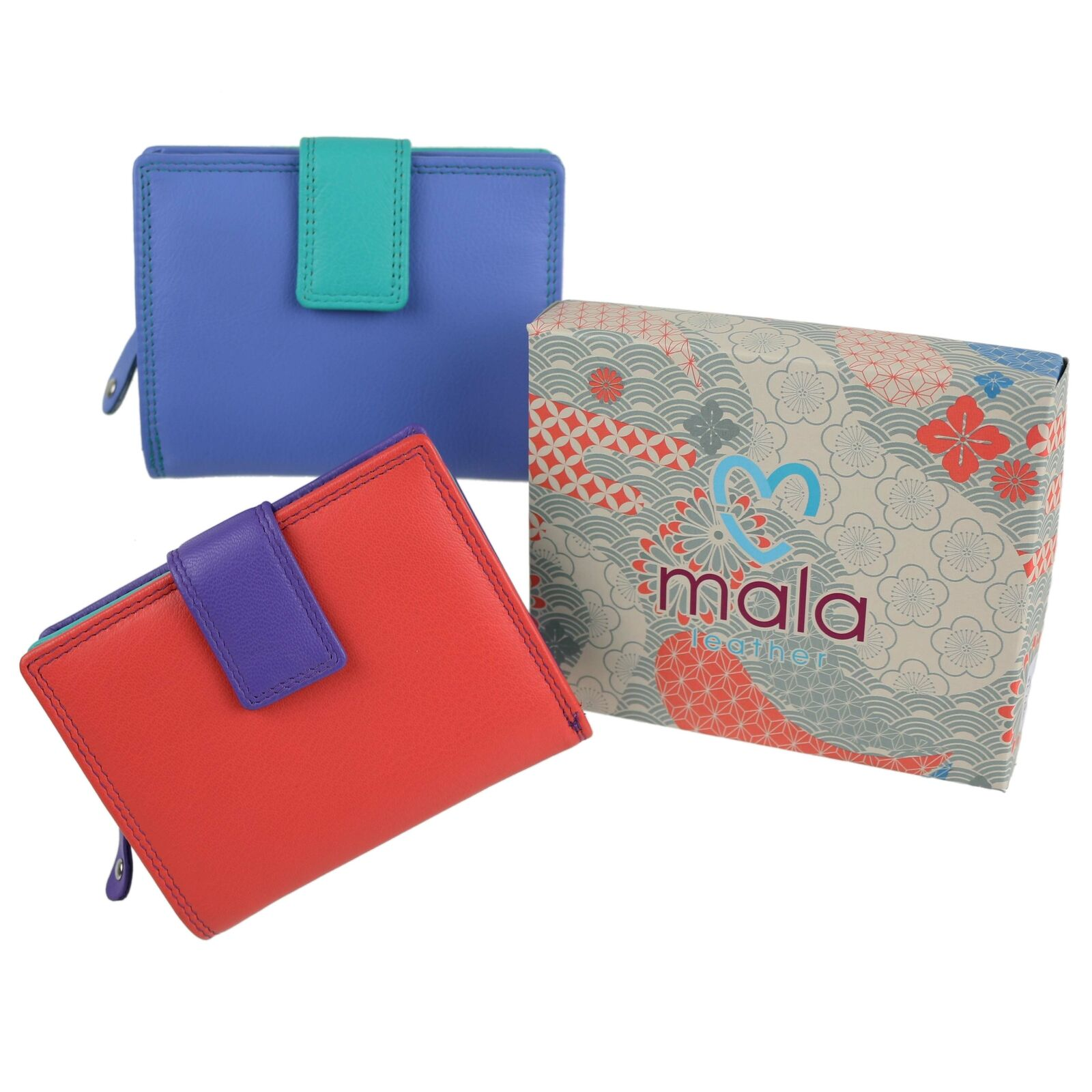 Mala Leather Ladies Multi-Coloured Compact Purse/Wallet Grafton Collection