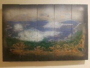 """HANGING OCEAN BEACH SCENE """"SOUTHERN CAL DREAM"""" 26"""" X 18"""" HAND PAINTED ON WOOD 06"""