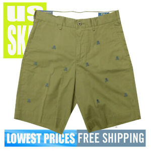 Polo-Ralph-Lauren-Men-039-s-NWT-Dark-Green-SKULLS-Designs-Walk-Shorts-SZ-29