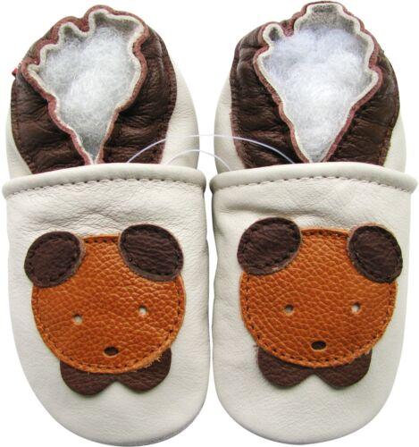carozoo teddy bear cream 6-12m soft sole leather baby shoes