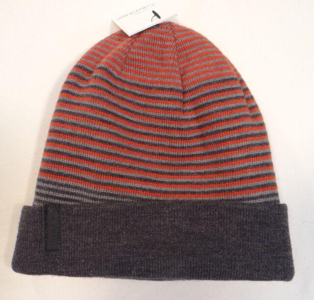 ab14922b8d5 Calvin Klein Reversible Men Striped Beanie Logo Hat Winter Slouchy Ombre Gor
