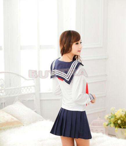 Japanese School Girl Dress Outfit Sailor Uniform Losplay Lostume Fancy Dress A!