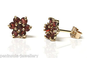 9ct-Gold-Garnet-cluster-stud-Earrings-Gift-Boxed-studs-Made-in-UK-Christmas-Gift