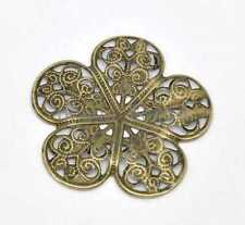 50 Bronze Tone Filigree Flower Wraps Connector Embellishments Findings 36mm