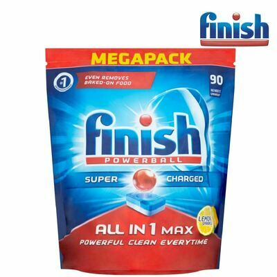 Finish Powerball Supercharged All in 1 Max Lemon Dishwasher Tablets 90 Pack