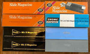 8-x-Vintage-Straight-Universal-35mm-Slide-Projector-Magazines-Boots-Gnome-Prinz