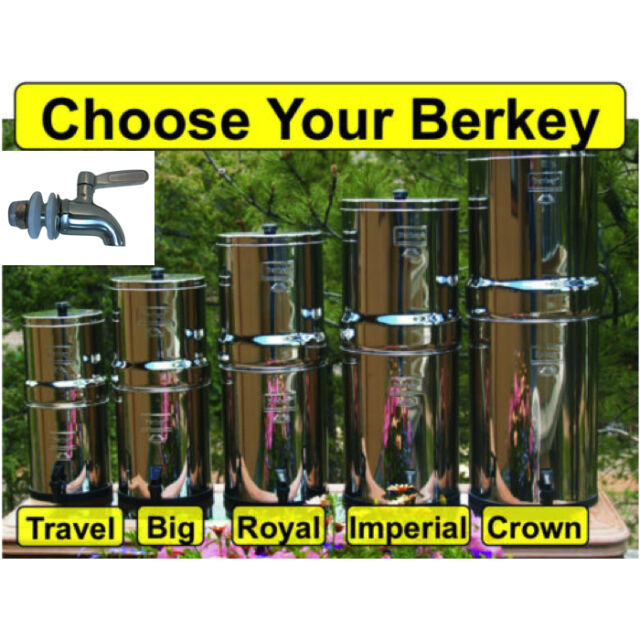 Berkey Water Filter System w/ Sight Glass Spigot - Crown Imp Royal Big Travel