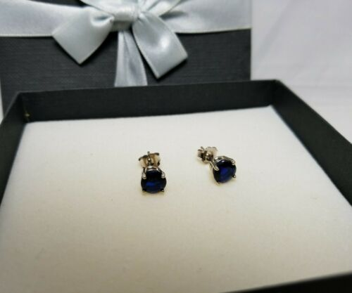 2.00 CARAT 14K SOLID White GOLD  BLUE Sapphire ROUND SHAPE STUD EARRINGS 6.5MM