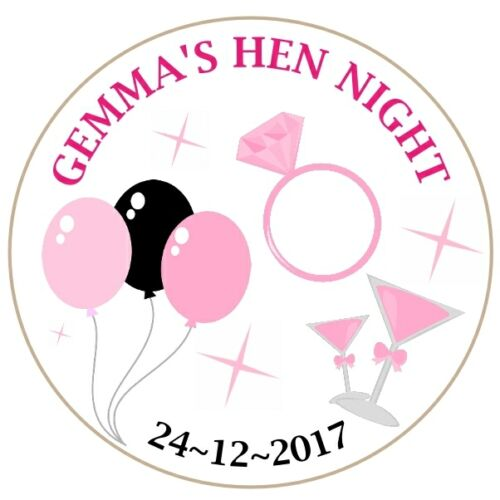 Round personalised Hen Night favour party bag labels stickers