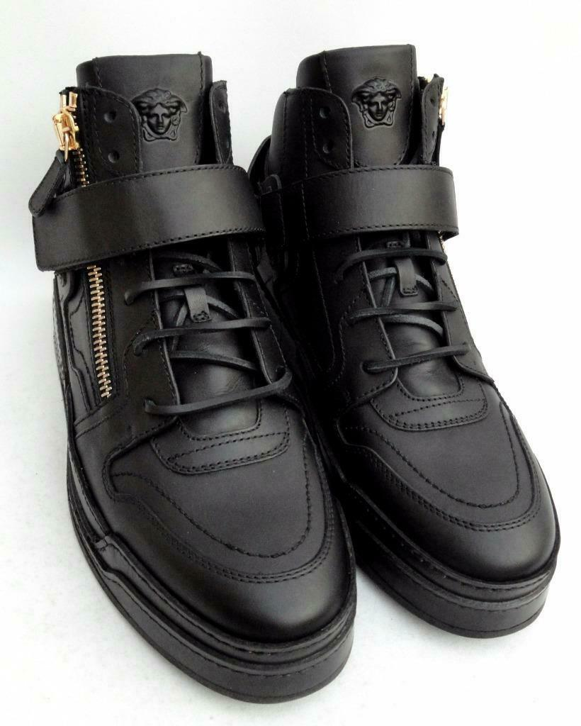 Versace Medusa Black Leather Trainers Sneakers Boots UK9 43 US10 New