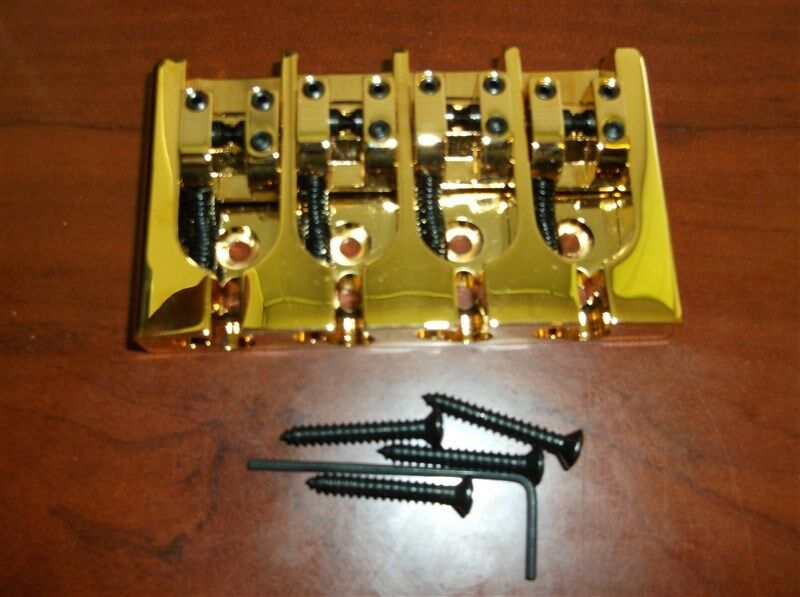 NEW Hipshot 4-String A Style Brass Bass Bridge, Gold - CHOOSE YOUR SPACING