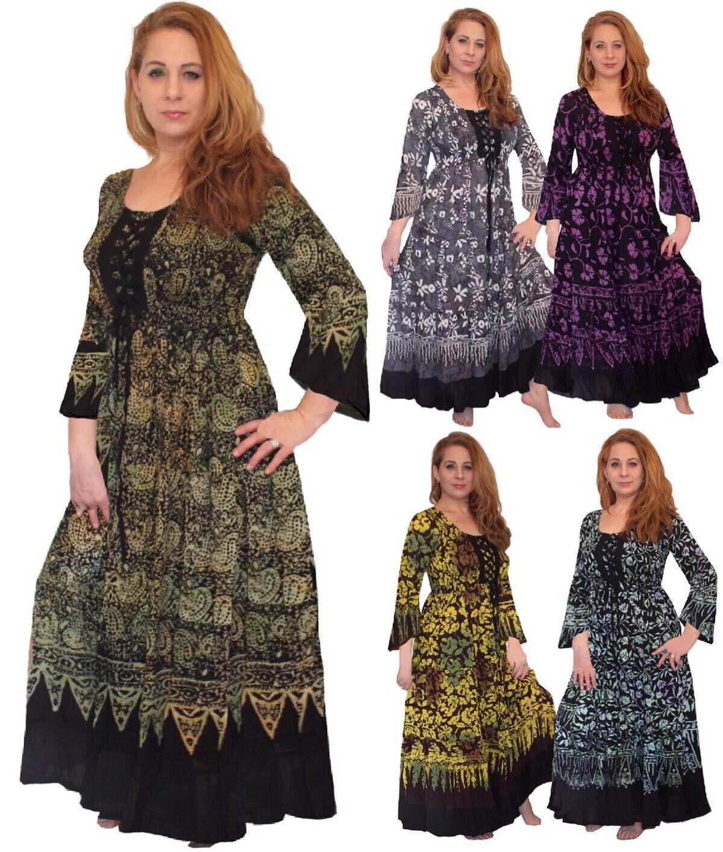 Boho Gypsy Maxi Dress - Bell Sleeve Lacing Gauzy Bali Batik -LotusTraders @V287