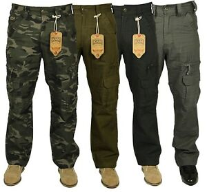 Mens-KAM-Combat-Cargo-Jeans-Casual-Outdoor-Multi-Pockets-Army-Camo-Work-Pants