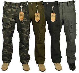Para-Hombre-Kam-Jeans-Combate-Cargo-informal-al-Aire-Libre-Ejercito-Camo-Trabajo-Pantalones-Varios