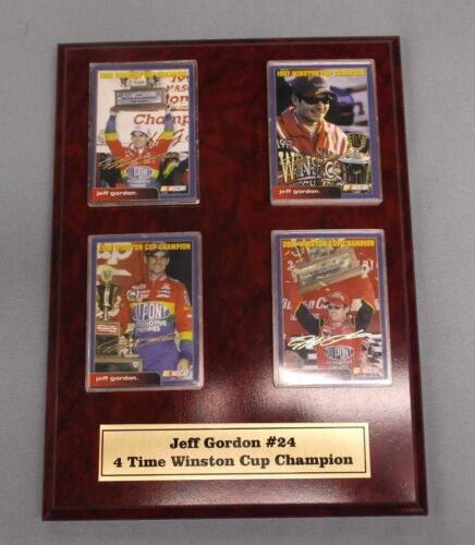 Jeff Gordon #24 4-Time WINSTON CUP CHAMPION trading card plaque 9x12 size