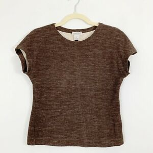 JOAN-amp-DAVID-Made-in-Italy-Womens-Wool-Short-Sleeve-Top-Size-2-Brown-Dry-Clean