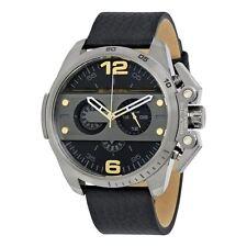 Diesel Mens Oversize Ironside Chronograph Watch Black Leather Strap DZ4386