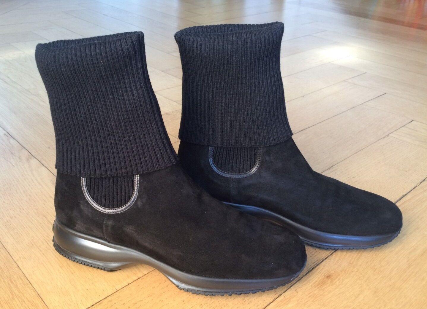 Hogan Boot Stiefel schwarz Wildleder mit Stulpe Größe 42 Damen, gebraucht