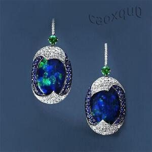 Silver-Opal-Exquisite-Drop-Blue-925-Ear-Dangle-Hook-Women-039-s-Sapphire-Earrings