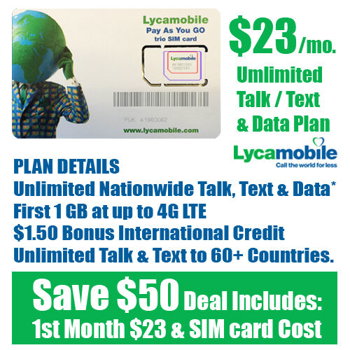 Lycamobile Plan 15gb LTE Unlimited Call Text 1 Month Included Triple SIM